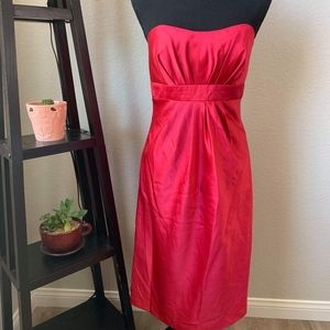 Alfred Angelo strapless red dress below knees